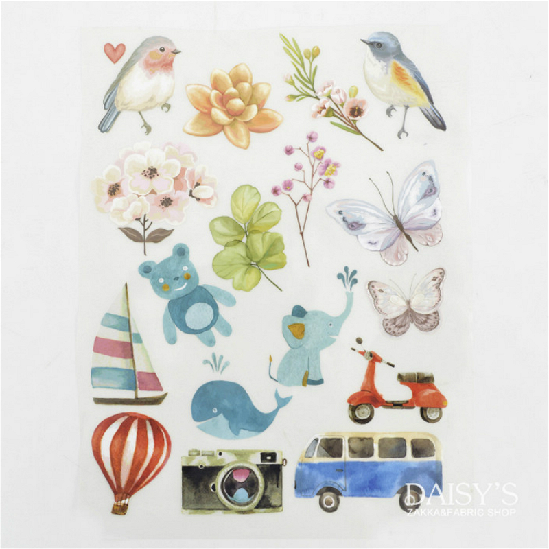Watercolor flowers and birds Patches For Clothing Iron On Jacket Appliques Cartoon Animal Patches Stickers DIY Handmade clothes iron