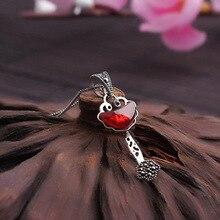 Оригинал 925 гранат чешского природный самоцветы ожерелье ретро кулон ювелирные изделия женщин подруга подарок