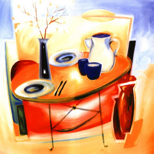 Modern Handmade Painting Colorful Dining Table On Oil Painting Canvas For  Living Room Decor And Wall