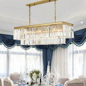 Image 2 - Candelabros cuadrados de cristal dorado para restaurante, comedor, dormitorio, sala de estar, bombillas LED