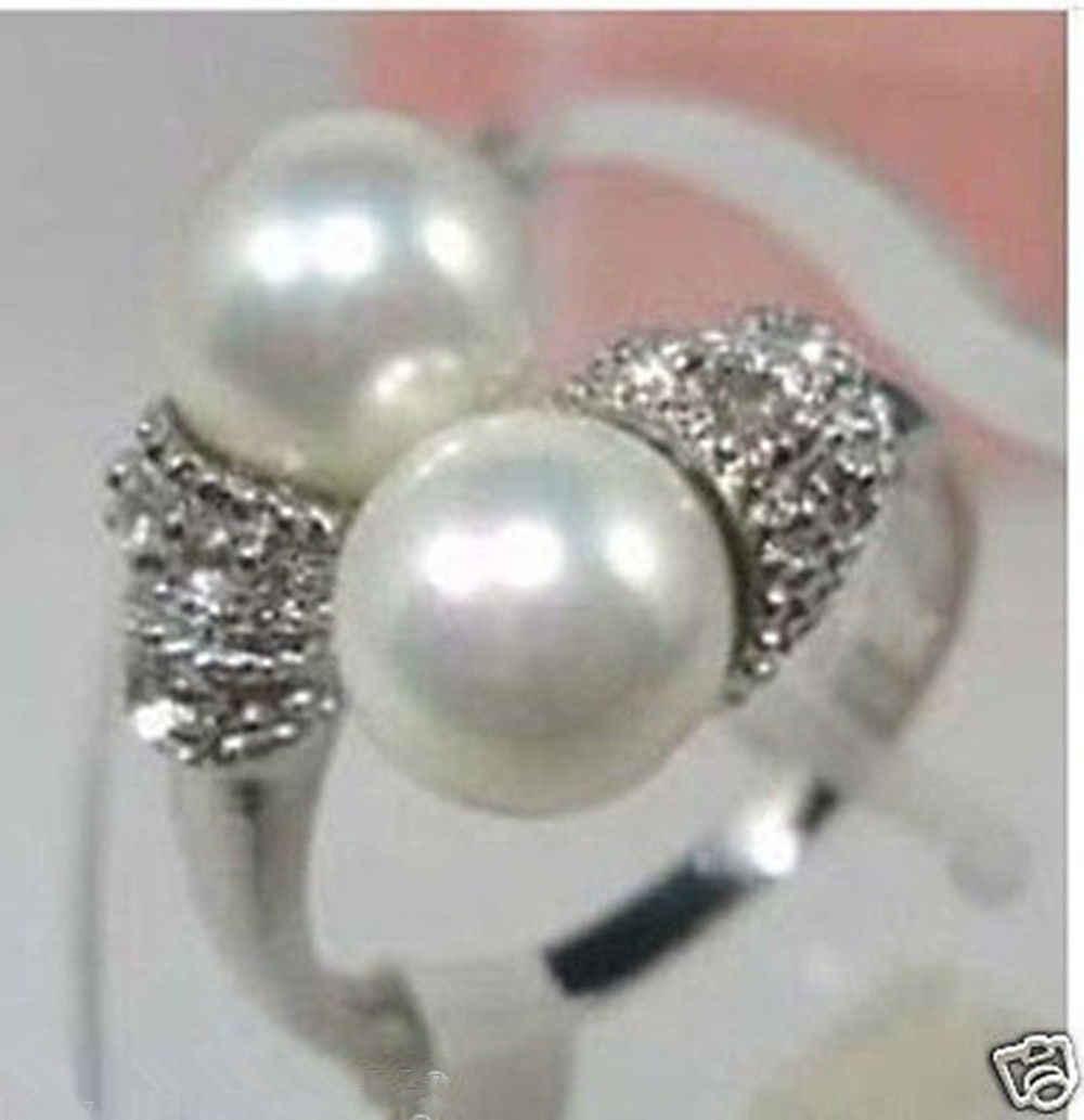 จัดส่งฟรี@@@@@เสน่ห์!!!สีขาวมุกแหวนผู้หญิงขนาด6 7 8 9 #