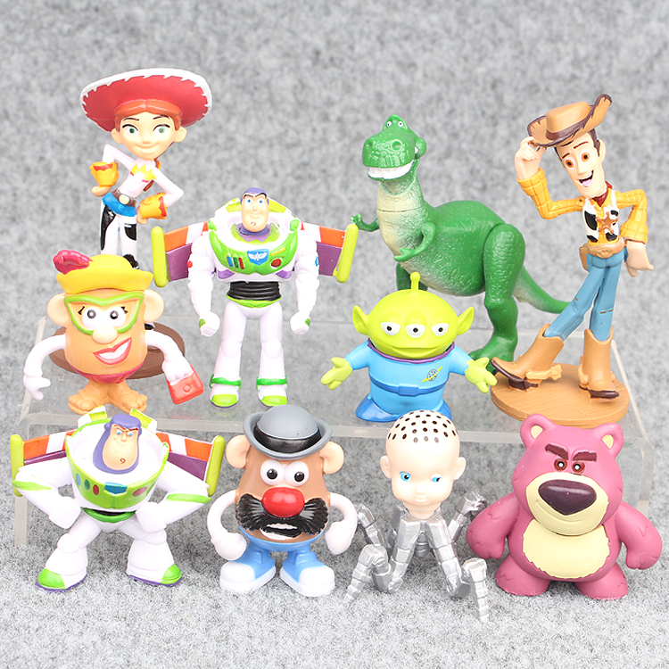 hot ! NEW 10pcs/set 4-10cm Toy Story 3 Buzz Lighter Woody Jessie action Figures PVC Action Figure Model toys Christmas gift toy hot new 1pcs 18cm toy story 3 woody action figures pvc action figure model toys christmas gift toy