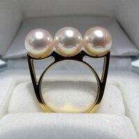 Вечная Свадебная Для женщин подарок Слово стерлингового серебра 925 Настоящее 7.5 8 мм натуральный японский Sea Pearl Ring, akoya натуральная звезда, тр