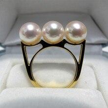 Eternal wedding Women Gift word 925 Sterling silver real 7.5-8 mm natural Japanese sea pearl ring, Akoya genuine star, three 18K