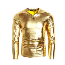 ed1ebda86aa Helisopus Men Long Sleeve Shiny Sliver Metallic Tops T shirt V Neck T-shirt  for Men Party Nightclub Perform T-Shirts