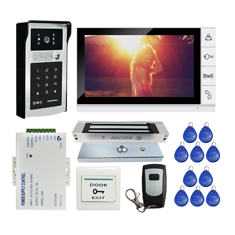 """Free Shipping 9"""" LCD Screen Video Door Phone Intercom Kit Outdoor RFID Code Keypad Doorbell Camera 180kg Electric Magnetic Lock-in Video Intercom from Security & Protection    1"""