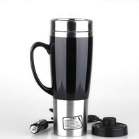 Winter Car Heating Cup Auto 12V 24V 450ML Car Heating Cup Stainless Steel Liner Car Mug with ABS security shock base
