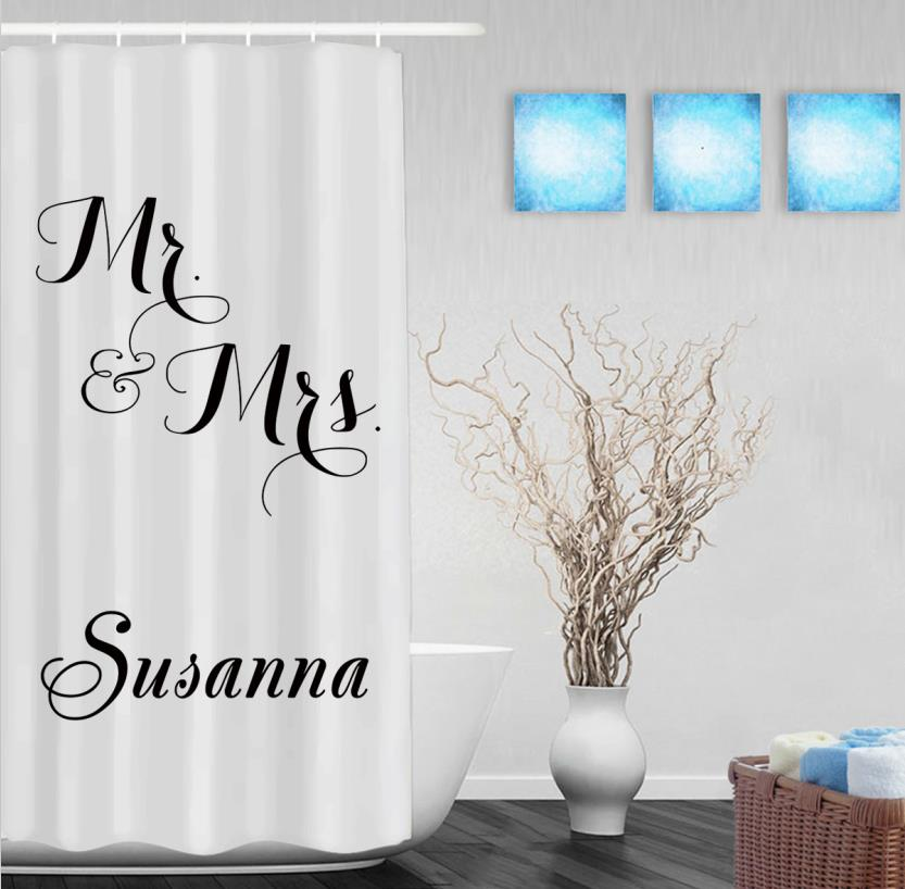 Personalized Mr. & Mrs. Monogrammed Shower Curtain Custom Wedding ...