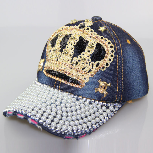 c0fd1599e57 Free shipping high crown cowboy quality diamond beads skull men s women s  hot adjustable hat casual adult
