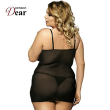 Comeondear Drop Shipping Black Lace Underwear RJ70030 Dress With G String Pajamas For Women Faux Leather Baby Doll Sexy Lingerie