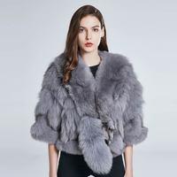 Fox fur vest natural leather grass jacket female autumn and winter coat real fur coat fox tail fur collar fashion design warm