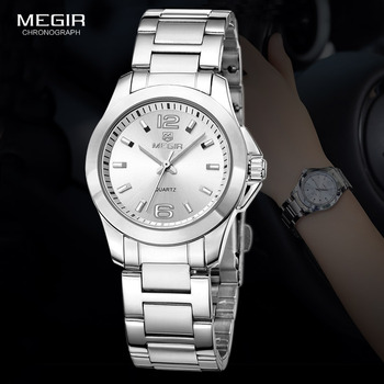 MEGIR Women's Simple Round Dial Quartz Watches Stainless Steel Waterproof Wristwatch for woman MS5006L bobo bird zebra series wood watches simple wooden dial quartz wristwatch for gift