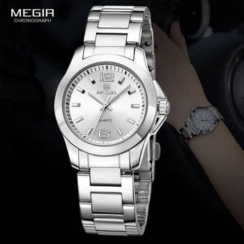 MEGIR Women\'s Simple Round Dial Quartz Watches Stainless Steel Waterproof Wristwatch for woman MS5006L - DISCOUNT ITEM  59 OFF Watches