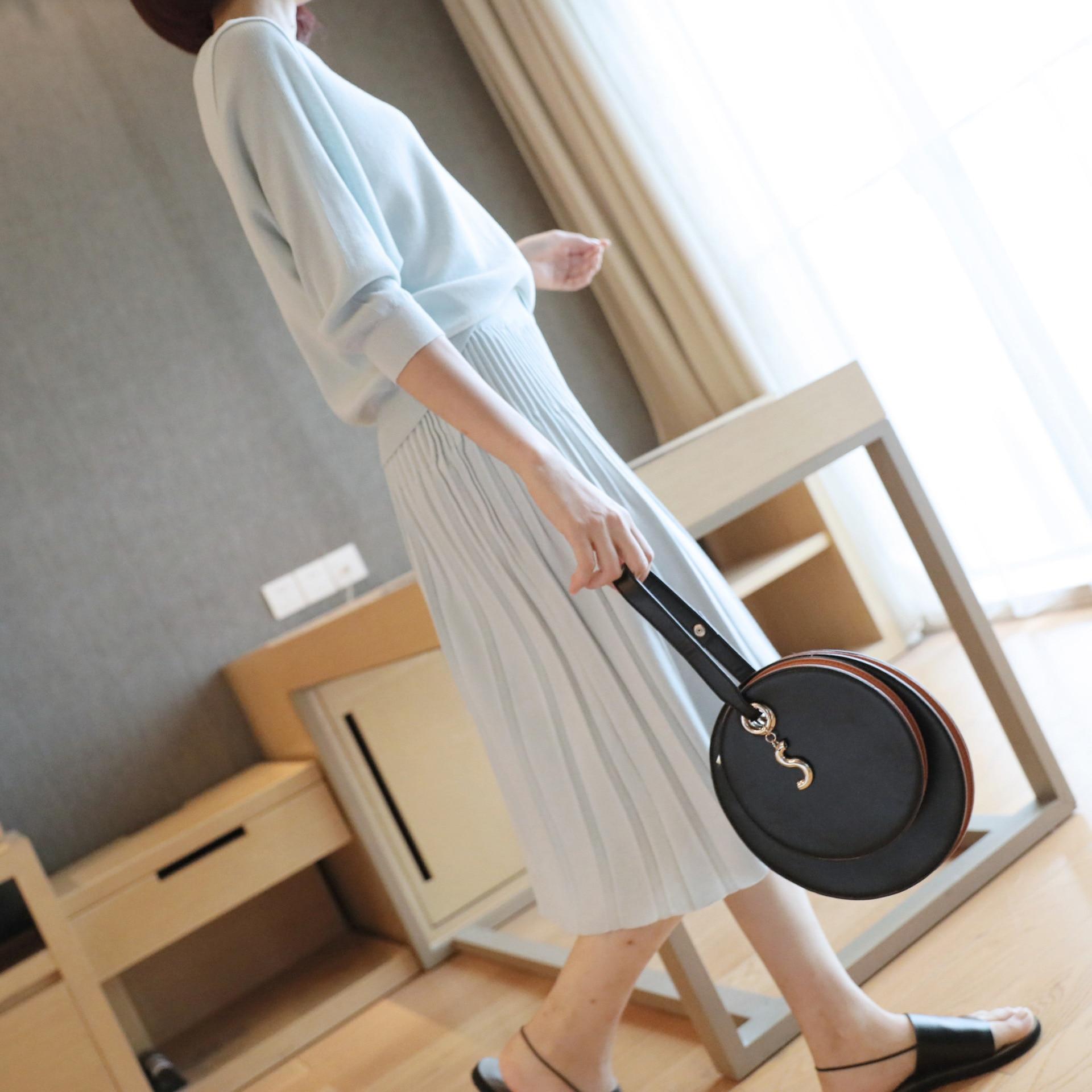 Las blue Falda 2018 black Traje Dos Punto Piezas De Nuevo Flojo Apricot Otoño Temperamento Moda Suéter Mujeres 5XwavpqB