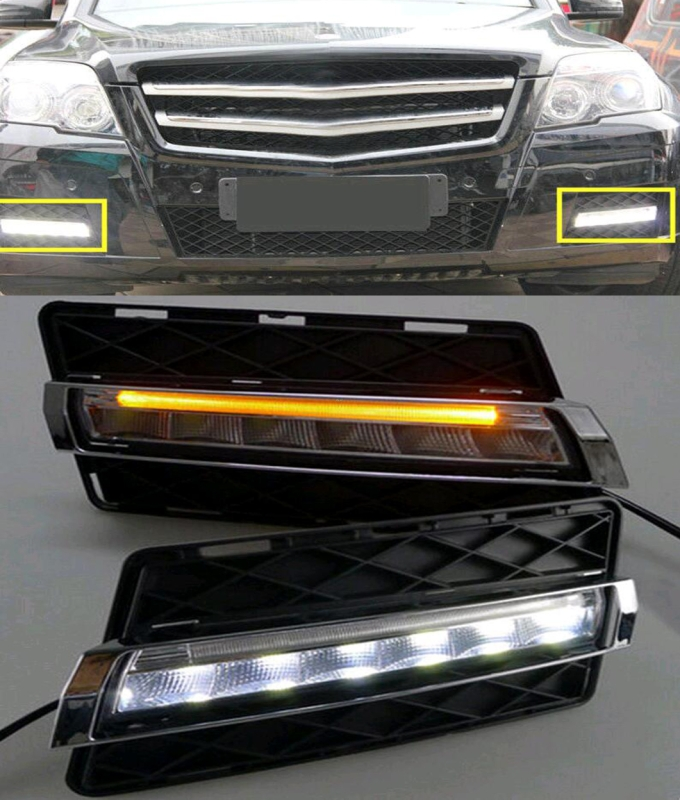 Car styling 1 Pair LED Daytime Running Light DRL Yellow Signal For Mercedes-Benz GLK Class 2008 2009 2010 2011 2012 akd car styling for mercedes benz c class w204 led star light drl front grille led logo hollow emblem daytime running light