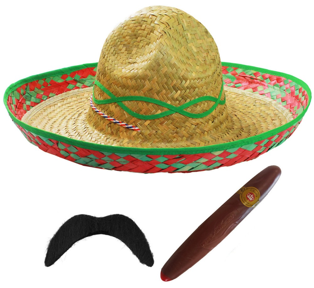 3 PIECES ADULT MEXICAN SOMBRERO STRAW HAT SET MOUSTACHE CIGAR BANDIT ... ae1ab63ef0f3