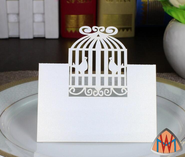 100pcs Laser Cut Hollow Birdcage Bird Cage Paper Table Card Number Name Card For Party Wedding Place Card Decorate