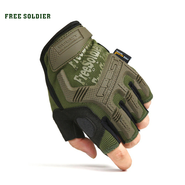 FREE SOLDIER outdoor sport camping climbing training hiking cycling men glove half finger tactical gloves wear non-slip