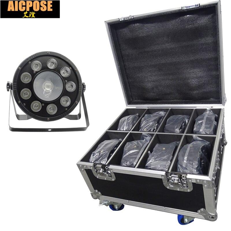 8pcs Flat LED Par Lights 9x10w+30w RGB 3IN1 PAR With Flight Case DMX512 control disco lights professional stage DJ equipment