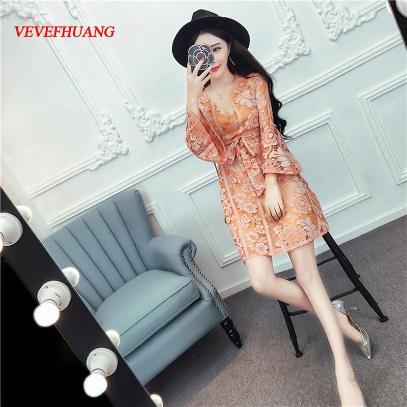 2018 New Women dress Flare Sleeve Print V-Neck Nightclub Sexy Deep Accept Waist Digital Big Pendulum Dresses Orange Yellow L0799