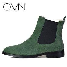 QMNผู้หญิงหนังแท้รองเท้าข้อเท้าสตรีเชลซีจัดส่งบนรองเท้าผู้หญิงรองเท้าฤดูหนาวสุภาพสตรีรูปนางแบบBotas Femininas