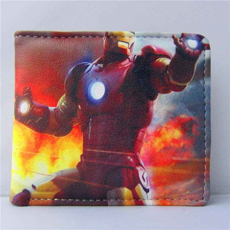 American Movie Folding Casual Wallet/Super Hero Iron Man High Quality Short PU Purse horizontal zipper wallet american super hero iron man short frosted purse