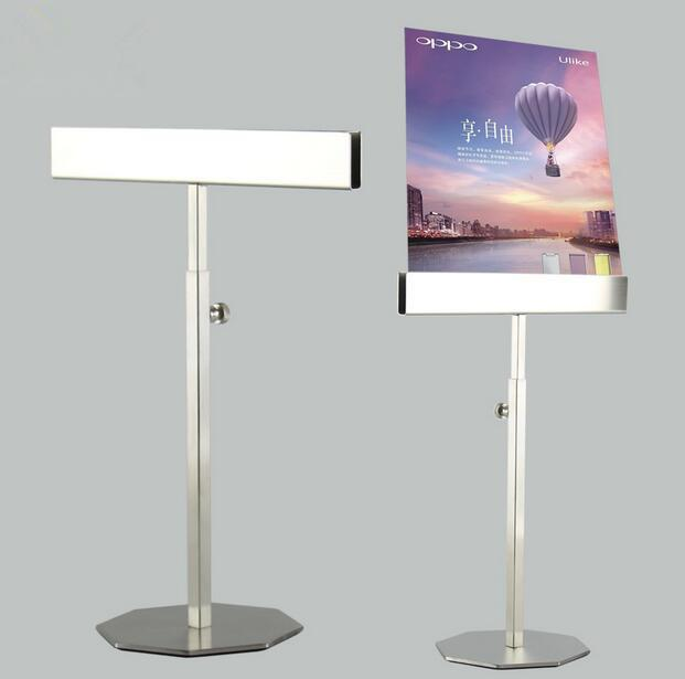 2pcs Stainess steel poster frame display stand adjustable KT board holder menu Banner Billboard desktop Double