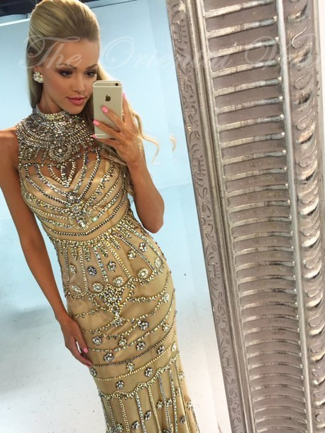 Heavy Rhinestones Crystal Champagne Mermaid   Prom     Dresses   2019 Robe de soiree High Neck Long Luxury Evening   Dress   Party Gowns
