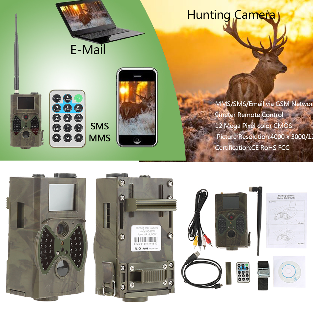 Hunting Trail Camera MMS GPRS Email 940nm Infrared wild camera HC350M GPRS 16MP 1080P HC300M Night vision for animal photo traps suntek infrared trail photo traps hc300m animal observation scouting camera game hunting camera 940nm night vision camera trap