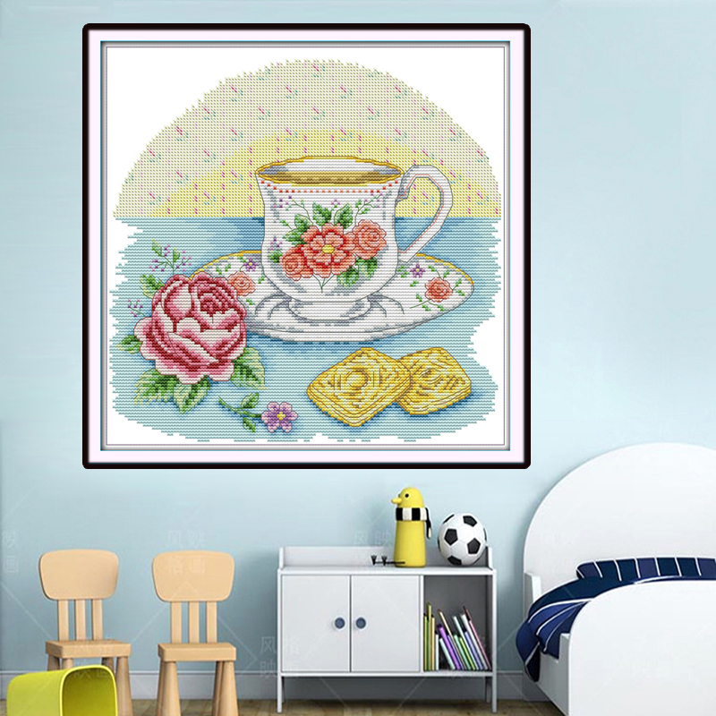 Joy Sunday,Afternoon tea time,Chinese cross stitch embroidery set,printing cloth embroidery kit,cross stitch pattern,cross stitch (4)