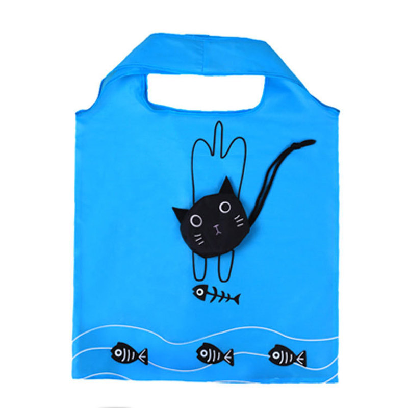 New Cartoon Shopping Tote Cute Cat Animals Folding Useful Nylon Foldable Eco Bag Reusable Shopping Bags