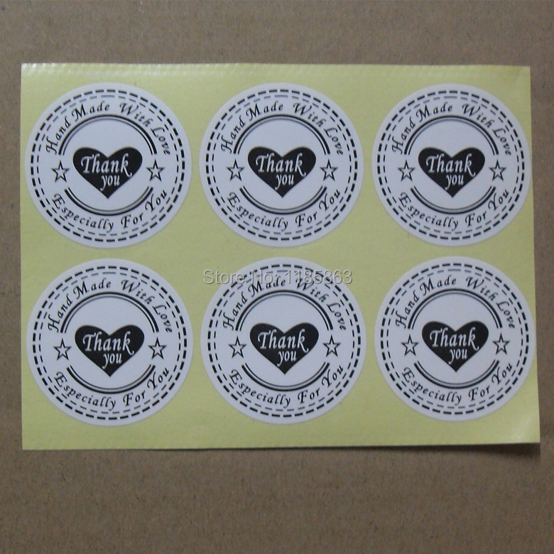 Купить с кэшбэком New! 100pcs/lot Round 30mm Sticker, ( hand made with love thank you especially for you )label,White Material Adhesive stickers