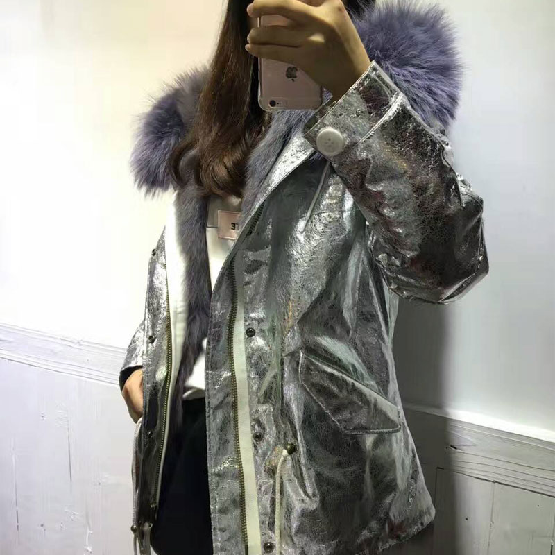 Waterproof Sliver fabric jacket Fox fur lining Grey raccoon Hooded Winter Coat