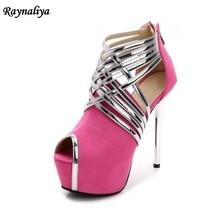 Elegant Woman 14CM Super High Heel Platform Shoes Black Thin Heels Buckle Cross Straps Women Sandals Nigh Club Shoes MS-A0014 цены