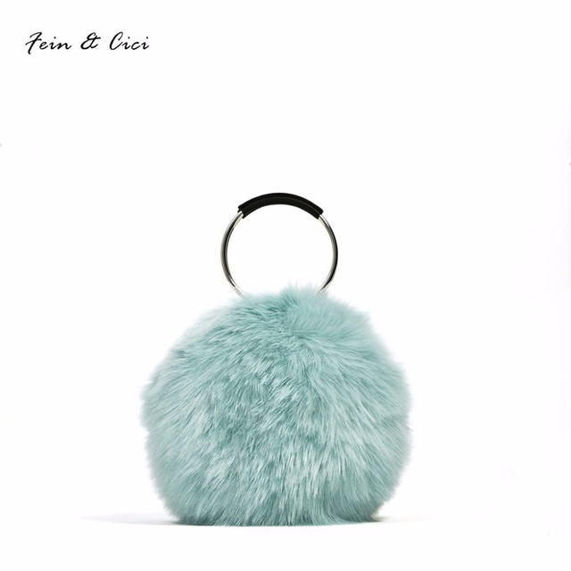 a5f778e14e5 Fur bag women brand totes Ladies Handbags Luxury Designer Evening Circle  Party Clutch Bag white blue color