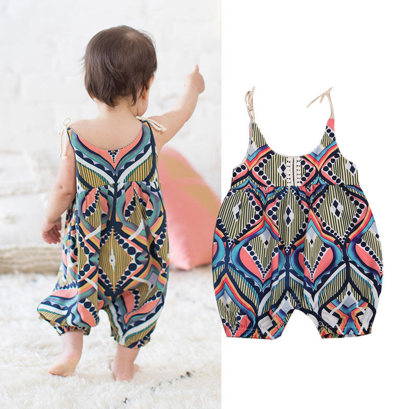 2018 NEW Newborn Infant Baby Girls Sleeveless Floral Stripe Boho Haren   Romper   Pants Summer Floral Clothing