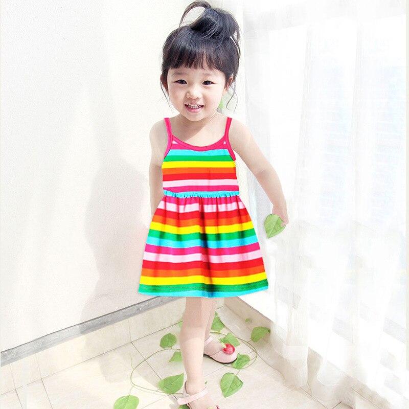 2017 new baby children summer cotton vest dress striped rainbow princess dress baby Bao Baoqun