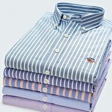 คุณภาพสูงแฟชั่น 100% Cotton Stripe Twill สีทึบสบายๆ Oxford แขนยาวเสื้อโลโก้ Slim สีเหลืองสีชมพูสีฟ้า
