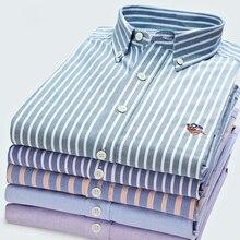 Chemise Oxford à manches longues avec LOGO, à rayures en coton, couleur unie, 100% coton, tendance décontracté, Slim, rose, bleu