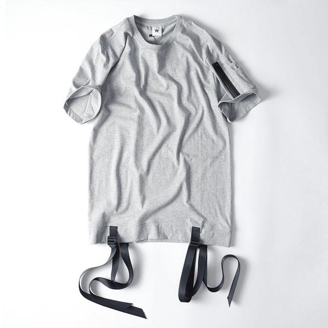 Roupas ganhos camiseta qualidade superior moda designhip hop Camisetas Streetwear camiseta tshirt homme zíper lateral manga de Multi Bolso