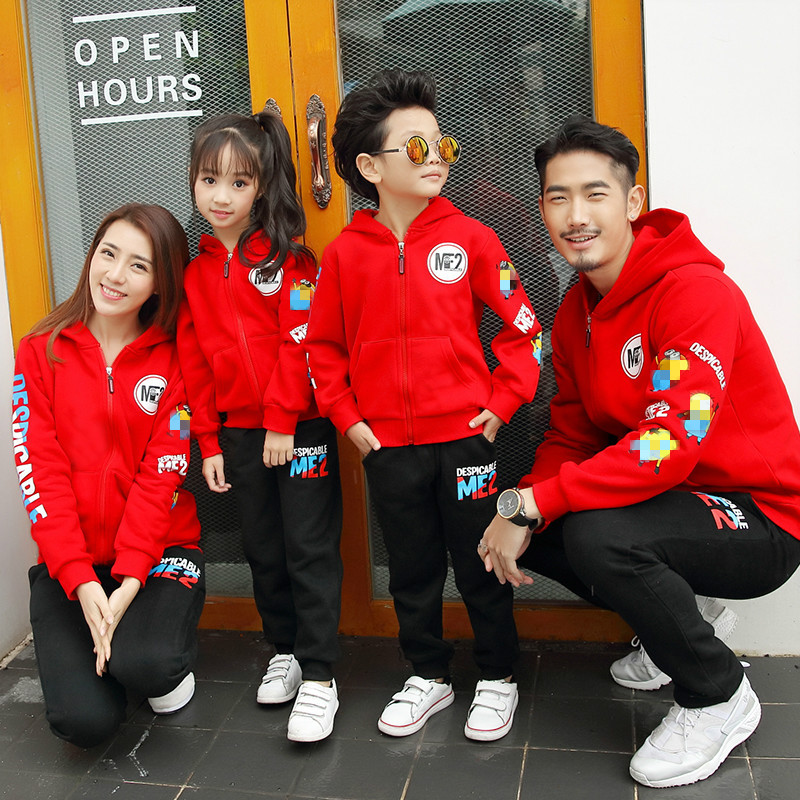 Fresh Red Family Clothing Sets Active Style Mother and Father and Kids Family Matching Suits
