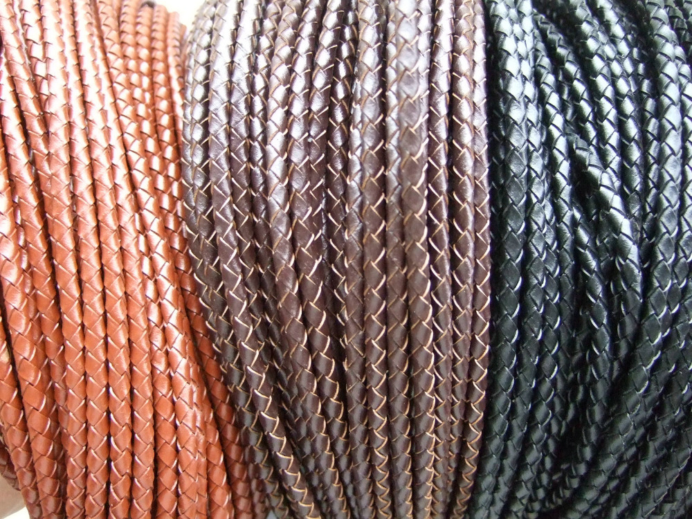 5 Yards Natural 4mm Brown Coffee Black Color Round Real Genuine Bolo Braided Leather Cord String DIY Craft Jewelry