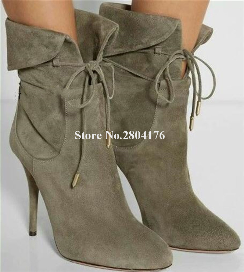 New Fashion Women Suede Leather Lace-up Folded Thin Heel Short Boots Lace-up Black Amry Green High Heel Ankle BootiesNew Fashion Women Suede Leather Lace-up Folded Thin Heel Short Boots Lace-up Black Amry Green High Heel Ankle Booties