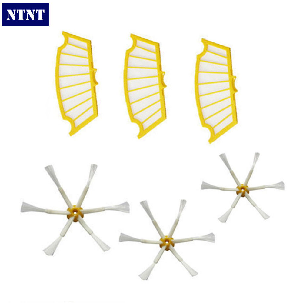 NTNT Free Post New 3 Filters + 3 Side Brush 6 Armed for iRobot Roomba 500 Series 530 550 560 570 интегральная микросхема oem 3 2 pi b 512m pi b 1 raspberry pi 2 set 3