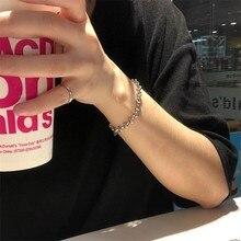 Fashion punk stainless steel geometric chain bracelet man woman couple statement jewelry