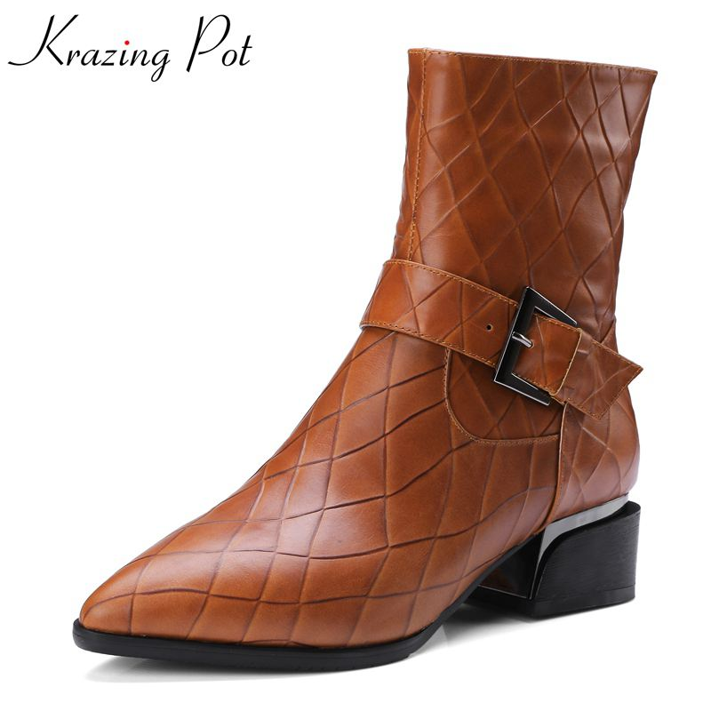 Krazing Pot genuine leather shoes woman handmade thick heels buckle motorcycle boots nightclub metal fashion Mid-Calf boots L05 mabaiwan handmade rivets military cowboy boots mid calf genuine leather women motorcycle boots vintage buckle straps shoes woman