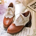 2014 Spring Carved British Style Vintage Shallow Mouth Flat Oxford Shoes for Women Low Thick Heel Oxfords Free Shipping Russia