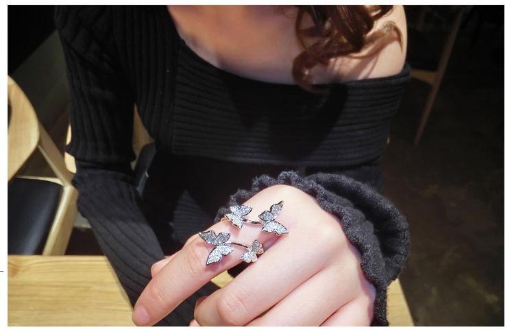 Женские кольца с изменяемым размером серебристые цирконом aaaaa