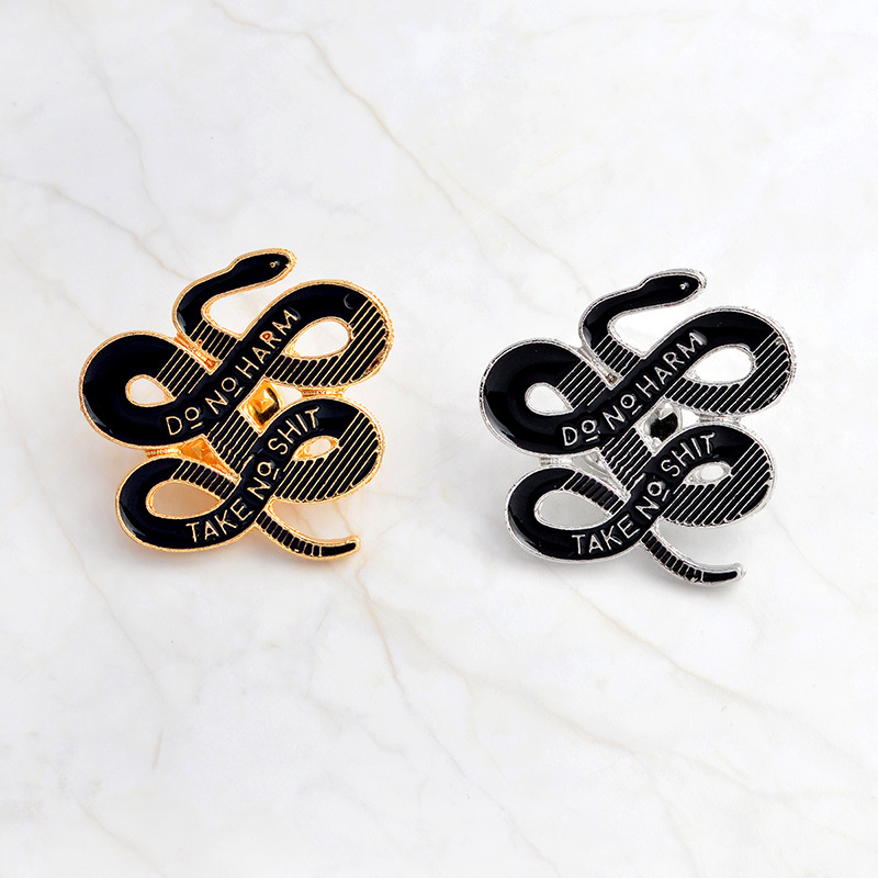 Fashion Vintage Animal Metal Brooch Snake Enamel Pin Decoration Denim Collar Backpack Badge Pins Accessories For Friends Gifts
