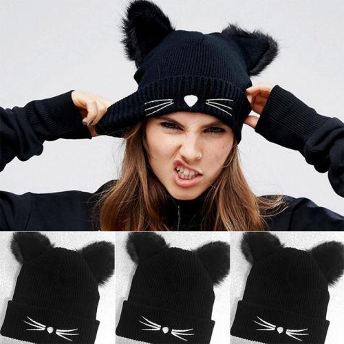 женские зимние кошачьи вязаная шапка плетеные вязаные шапки с ушками